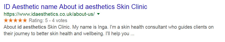 Beauty Clinic Web Design With Star Rating In Google Search Results