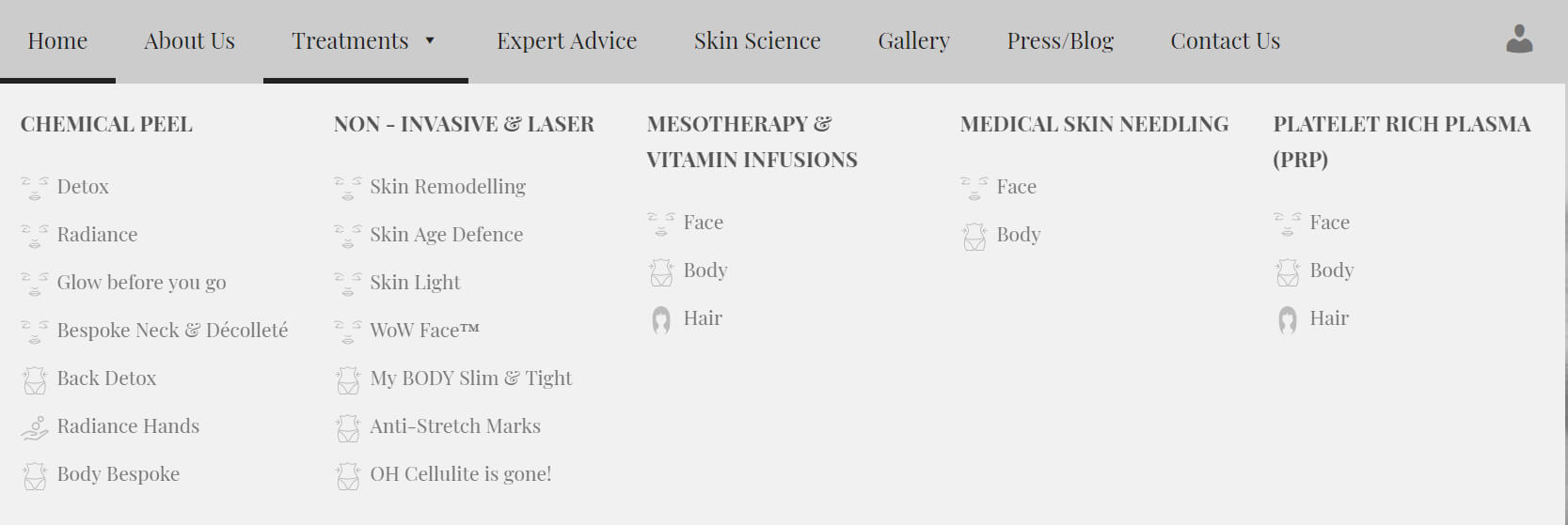 Special Treatments Menu Web Design And Implementation